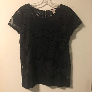 Banana Republic Embroidered Blouse - Black - 8